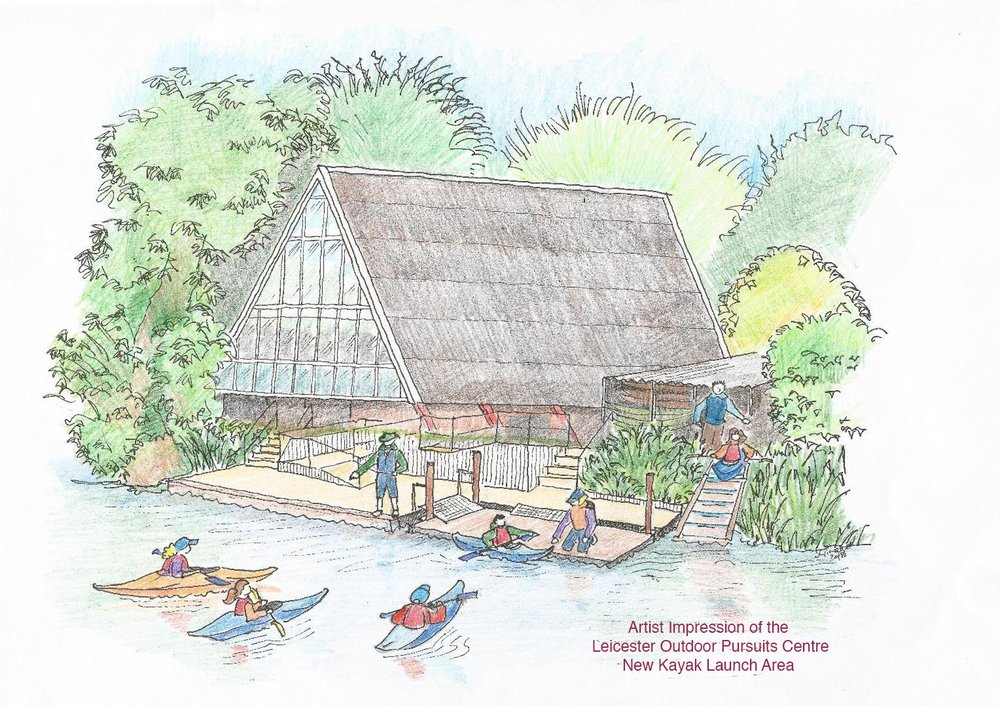 Artist impression of Leicester Outdoor Pursuits Centre New Kayak Launch Area