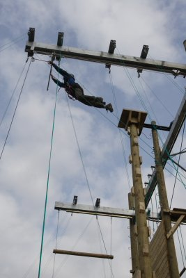The Leap of Faith activity on the High Ropes at Leicester Outdoor Pursuits Centre